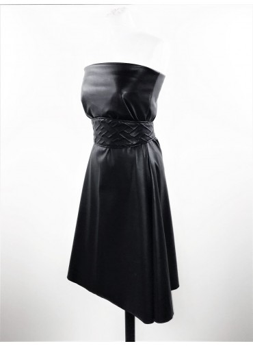Transformable short dress -Baby-doll style - coated jersey in leather style