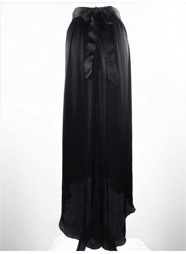 Transformable asymetrical silk skirt - Black satin belt