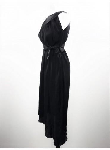 Transformable short dress - Black asymetrical silk veil + ajustable satin ribbon