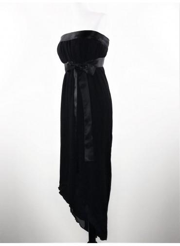 Transformable short dress - asymetrical double silk veil- ajustable satin ribbon