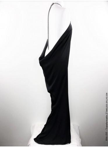 Transformable long dress - splited decollete - black silk + metal chain
